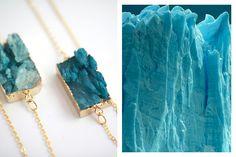 Druzy agate necklace from Studio Esthete. Mountain Fashion, Agate Necklace, Modern Fashion, Handcrafted Jewelry, Fashion Inspiration, Amethyst, Ice, Street Style, Drop Earrings