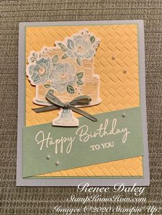 Happy Birthday To You Card - Learn techniques of card making & paper crafting with stamps - kira Happy Birthday Ecard, Rubber Stamping Techniques, Birthday Cake Card, Cardmaking And Papercraft, Wink Of Stella, Hand Stamped Cards, Teen Birthday, Handmade Birthday Cards, How To Make Paper