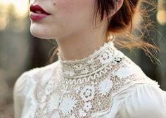 Antique Edwardian lace collar wedding dress design idea