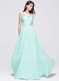 a41209bb6693 A-Line Princess V-neck Floor-Length Chiffon Prom Dress With Beading