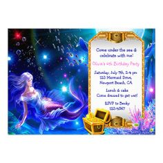 Under the Sea Mermaid Treasure Hunt Birthday Party Custom Invite... excited my baby girl was born in July, someday I will be able to throw her a mermaid swimming pool party!