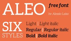 A través de Font Fabric descubrimos Aleo Free Font, una slab serif de corte contemporáneo diseñada por el italiano Alessio Laiso. Aleo tiene detalles semi-redondeados y una estructura elegante, dándole una personalidad muy fuerte mientras se mantiene alta legibilidad. La familia comprende seis estilos: tres pesos (light, regular y bold), con sus correspondientes cursivas verdaderas. Disponible en descarga gratuita para uso privado y comercial. http://fontfabric.com/aleo-free-font