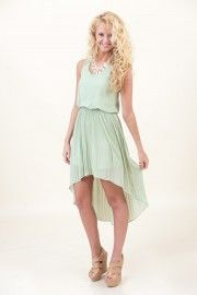 hi-low dress in a pastel green