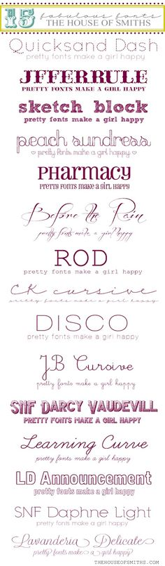 ❥ 15 Fabulous Free Fonts (click image, then click names below pic for actual fonts) {they're not all free... just sayin...}