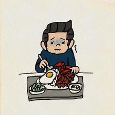 #辛いに決まってる #辛さレベル2だけど #タイ料理 #絵