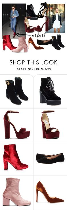 """""""Velvet Shoes"""" by fashionpolyvore112num2 ❤ liked on Polyvore featuring Stuart Weitzman, Steve Madden, Yves Saint Laurent, Walking Cradles, Free People, Prada, Imagine by Vince Camuto and velvet"""