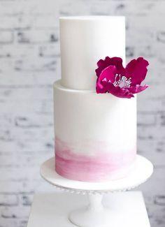 modern chic watercolor wedding cake; via Sweet Bakes