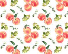 Hand-painted watercolor illustration of peaches. 12 separate elements, 5 compositions and one seamless pattern. You receive high resolution 18 PNG with Fruit Clipart, Watercolor Fruit, Watercolor Illustration, Still Life, Helpful Hints, Clip Art, Hand Painted, Drawings, Artwork