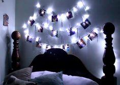 Cette jolie guirlande lumineuse customisée avec des photos et du papier à paillettes est idéale pour une tête de lit branchée et personnalisée !