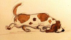 lisawoodsillustration.com  basset hound art illustration dog