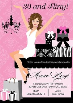 Birthday Party Digital Printable Invitation Template Sweet
