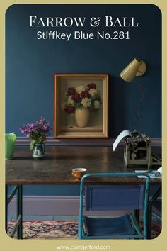 A rich blue, Farrow & Ball's Stiffkey Blue can be used in traditional spaces or to give a more dramatic look to a contemporary design. See more colour combinations and paint palettes here. Beautiful Color Combinations, Colour Combinations, Colour Schemes, White Paint Colors, Interior Paint Colors, Stiffkey Blue, Best White Paint, Paint Palettes, Benjamin Moore Colors
