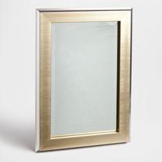 espejo rectangular borde dorado y plateado