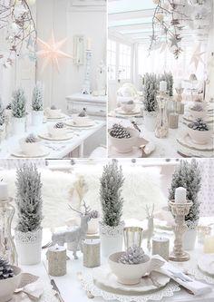Blanc chic pour Noël ! D'autres idées de décoration sur le site.