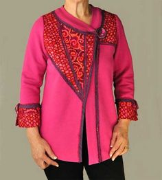 The Living Well Jacket Pattern is one sewing pattern with two unique center front designs. The Swirl Jacket features an added underlap, and the Wedge Jacke