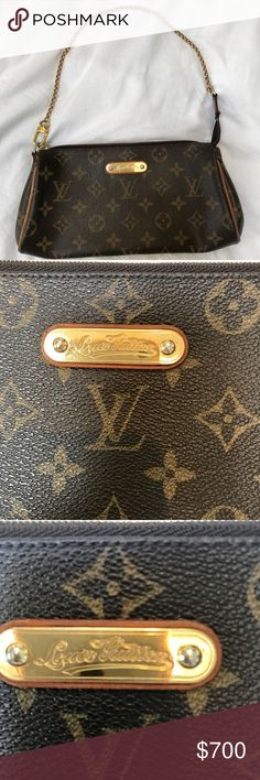 """Auth. Louis Vuitton Monogram Canvas Eva Clutch Bag Authentic Louis Vuitton Eva Clutch Bag is perfect to take you from day to night; Use as a crossbody or clutch! Discontinued by LV! This bag is in GUC & shows signs of wear (see photos)  Ext. canvas: clean & beautiful. Leather (strap incl.): has dvlpd. a honey patina. Some cracking. 1 of the clasps on leather shoulder strap has difficulty securing (not """"springy""""). Hardware: surface scratches. Interior: a few pen marks, but clean & in good…"""