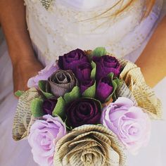 Purple Rustic Wedding bouquet Purple Crepe paper wedding