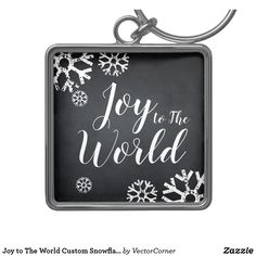 Joy to The World Custom Snowflake Blackboard Keychain