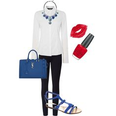 necklace outfit white shirt by audrey115 on Polyvore featuring Oui, Lyssé Leggings, Yves Saint Laurent, Manic Panic and OPI