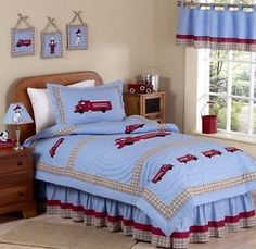 Red and Blue Fire Truck Engine Kid Boy Twin Quilt Bedding Set ...