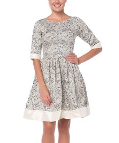 8b1aede36d10 FX Missony Gray   White Floral Fit   Flare Dress