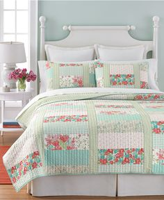 Martha Stewart Collection Aqua & Coral Patchwork Posey Full/Queen Quilt - Quilts & Bedspreads - Bed & Bath - Macy's