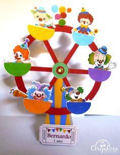 Caixa Cone Roda Gigante Palhaços Festa Circo