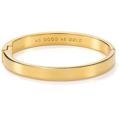 kate spade new york Good as Gold Idiom Bangle ($48) ❤ liked on Polyvore featuring jewelry, bracelets, accessories, jewels, gold, engraved bangle bracelet, yellow gold bangle, gold bracelets bangles, engraved bangle and gold bangles jewelry
