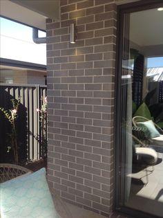 PGH Brick - Truffle with Monument aluminium window frames. Brick Facade, Facade House, House Exteriors, Building A New Home, Building Plans, Slidding Door, Grey Brick Houses, Light Brick, Brick Colors