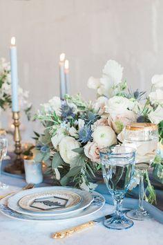 Vintage Blue, Blush and Gold Wedding Tablescape  #weddingtablescape #fineartwedding