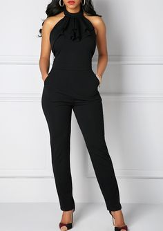 Pocket Solid Black Halter Neck Jumpsuit, hot sale,  faster shipping and free shipping worldwide, more than 3000 goods at rosewe.com, don't wait.