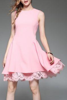 pink dress with lace hem