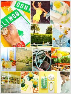 monochromatic monday, retro palm springs, yellow, green, blue, sixties, palm springs, aqua