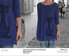 #Sweater Cat largo y amplio Material Tejido Color Azul M,L,XL $990
