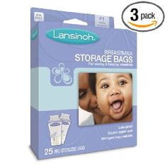 Lansinoh 20435 Breastmilk Storage Bags, 25-Count Boxes Pack of 3 - $13.46 - great storage bags. Lots of room in them so less spill potential. Freeze standing up great!