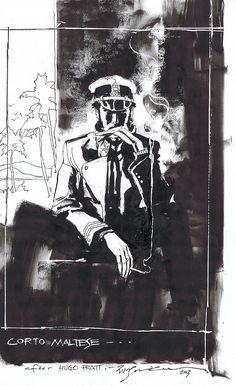 "thebristolboard: "" Corto Maltese commission by Bill Sienkiewicz. """
