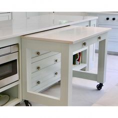 Now you see it, now you don't! This pull out countertop instantly adds more co… Now you see it, now you don't! This pull out countertop instantly adds more countertop space when you need it. Custom kitchen cabinets and kitchen organization ideas. Home Decor Kitchen, Diy Kitchen, Kitchen Furniture, Home Kitchens, Clever Kitchen Ideas, Clever Kitchen Storage, Small Kitchen Counters, Table For Small Kitchen, Small Kitchen Designs