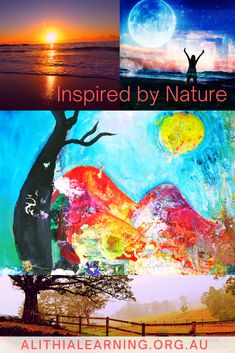Nature can inspire us in lots of ways!! I love how this painting was inspired by the different colours and shades that we see in nature at various times of the day. How does nature inspire you? Different Colors, Workshop, Shades, Colours, Times, Inspired, My Love, Nature, Painting