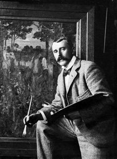 James M. Nairn with a palette and paintbrush, in front of his painting. Taken by an unknown photographer in the The painting in the background is possibly `Tess at Silverstream' Moving To New Zealand, Old Art, Art Club, Portrait Photo, Paint Brushes, Impressionist, Art History, Old Things, Cottage