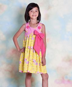 Take a look at this Yellow & Pink Nature Bow Dress - Infant, Toddler & Girls by Jelly the Pug on #zulily today!