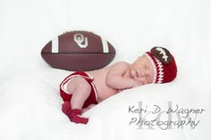 Crochet Newborn Football Team Beanie (choose your own team) featured in Oklahoma Sooners (NCAA). $17.00, via Etsy.
