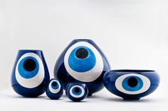 Greek form of protection is Evil Eyes (as in, to protect from). These are bowls with evil eye motif. Evil Eye Art, Turkish Eye, Greek Evil Eye, All Seeing Eye, Evil Eye Jewelry, Hand Of Fatima, Eye Protection, Hamsa Hand, Ceramic Art