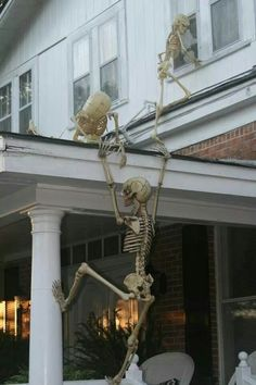 skeletons climbing into house