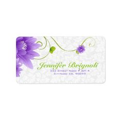 Purple White And Green Floral Design Label - purple floral style gifts flower flowers diy customize unique