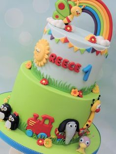 I made this for a customer this week, based on BABY TV Jungle Birthday Cakes, 2nd Birthday Party For Boys, Baby Boy First Birthday, Baby Birthday Cakes, Baby Tv Cumpleaños, Baby Tv Cake, Baby Girl Cakes, Car Cakes For Boys, Friends Cake
