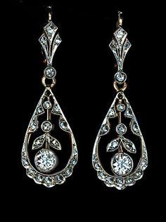 Antique Edwardian Diamond Drop Earrings #DropDangle