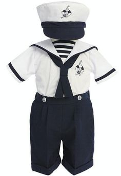 A darling boys sailor short suit for babies 6 months old that comes with a matching hat.