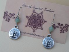 Tree Of Life Earrings Light Green Aventurine Gemstone and Pewter Dangle Earrings Wicca Wiccan Witch Earrings Pagan Jewelry Hippie Jewelry