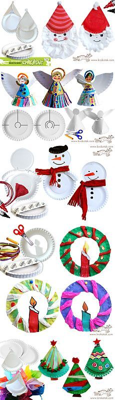 PAPER PLATE Ideas for Christmas crafts for kids. Children can make a snow man, a wreath, or an angel out of paper plates Christmas Arts And Crafts, Preschool Christmas, Noel Christmas, Christmas Activities, Christmas Projects, Winter Christmas, Holiday Crafts, Holiday Fun, Christmas Decorations