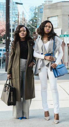 Fashion bloggers: Army green and gray outfit inspiration, and gray and white outfit with a touch of blue.